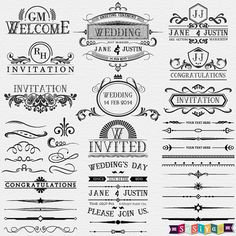 Vintage Wedding Calligraphy Digital Clip Art by SasiyaDesigns, $5.00