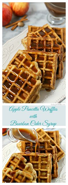 These delicious Apple Pancetta Waffles with Bourbon Cider Syrup from…