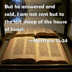 Matthew 15:24 But he answered and said, I am not sent but to the lost sheep of the house of Israel.