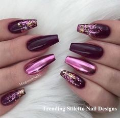 50 Eye-Catching Chrome Nails Revolutionize Your Nail Game - New Women& Hairstyle . - 50 Eye-Catching Chrome Nails Revolutionize Your Nail Game – New Women& Hairstyles 50 Eye-Ca - Maroon Nail Designs, Different Nail Designs, Acrylic Nail Designs, Nail Art Designs, Maroon Nails, Purple Nails, Chrom Nails, Feather Nails, Stiletto Nail Art