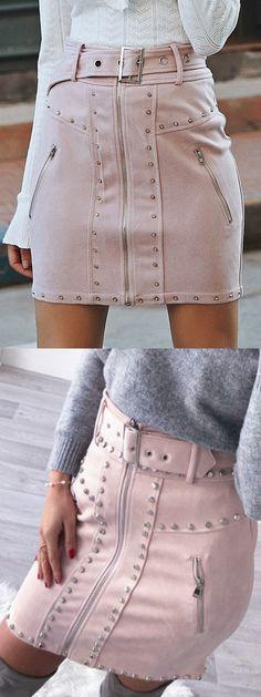 24f252fc10 Pink High Waist Buckle Strap Stud Detail Suede Mini Skirt Suede Mini Skirt,  Latest Fashion