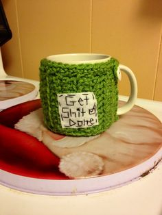 Get shit done cup cozy crochet cozy mug cozy by mandag433 on Etsy