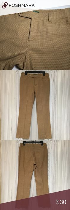 Lauren Ralph Lauren petite Adelle pants Sz 8P Super cute plaid pants. Page and khaki colored. Two pockets in front what, one split pocket in back. Zips, hooks and has one button in front. Weighs 15.5 inches Rise 10 inches Inseam 29.5 Leg opening 8.5 98% cotton  2% elastane  Has five belt loops. Fabric is soft with a hint of stretch. Perfect pants to wear to the office or running errands. Thanks for visiting my closet feel free to look around!🤗 Lauren Ralph Lauren Pants