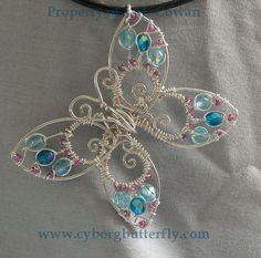 Blue Butterfly by ~cyborgbutterfly on deviantART - pretty Wire Pendant, Wire Wrapped Pendant, Wire Wrapped Jewelry, Wire Jewelry, Beaded Jewelry, Jewelery, Handmade Jewelry, Wire Crafts, Jewelry Crafts
