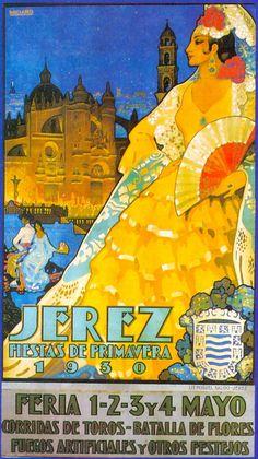 SPAIN / ANDALUSIA / Festivities - Old posters - Antiguos carteles de Feria - Cartel anunciador de la Feria de Jerez de la Frontera de 1930