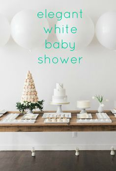 Winter whites and lush spring greenery were the inspiration for this elegant baby shower. Shared by Career Path Design White Baby Showers, Elegant Baby Shower, Cheap Baby Shower, Beautiful Baby Shower, Gender Neutral Baby Shower, Spring Baby Showers, Baby Shower Decorations For Boys, Baby Shower Themes, Shower Ideas