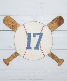 $14.99 marked down from $23! Unfinished Baseball Numbers & Monogram Plaque #zulilyfinds #baseball