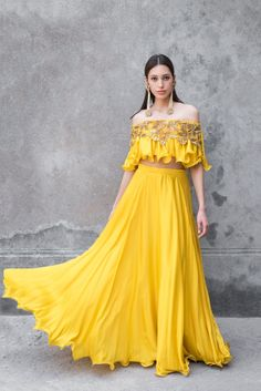 Mustard yellow off shoulder crop top in cotton satin base with zari and sequins cut work embroidery on the neckline with matching mustard yellow lehenga. Lehnga Dress, Lehenga Choli, Anarkali, Blouse Dress, Silk Dress, Indian Wedding Outfits, Indian Outfits, Bridal Outfits, Indian Designer Outfits