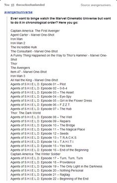 The Marvel Cinematic Universe, in order. Ugh, now I reeeeeeally wanna do this. How long do you think this would take!?