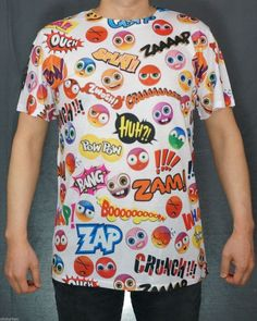 KAYDEN.K Men's Sublimation All Over Print T-Shirt Emoticon Cartoon Clipart  S~XL #KaydenK #GraphicTee