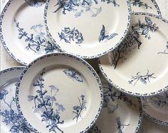 Faience Blue Transferware Dinner plates made by Sarreguemines - France - Carmen