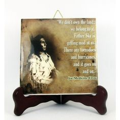 Native American Ceramic Tile Chief Joe Medicine Crow quote Hand Made... (€9,43) ❤ liked on Polyvore featuring home and kitchen & dining