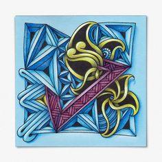 """""""Даёшь цвет!"""" N5/7. __________________________ Вторая работа по пятому уроку курса """"ZEN classici"""" от Натальи @arsenika.zen и Елены @myflowerdream Использованы tangles: FASSET, FENGLE и HIBRED. P. S. И таки да, жёлтый по синему не даёт зелёный  Но жёлтый цвет меняется  __________________________ Материалы: цветная бумага из блока для записей, гелевые чёрная и белая ручки, меловой карандаш и цветные карандаши """"Koh-i-Noor"""". Размер квадрата: 9х9 см. __________________________ #zenclassici #..."""