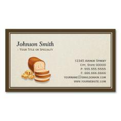 Sweet Bakery Bread Cookies Baker - Simple Elegant Business Card Template