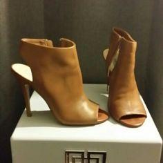 Steve Madden Rocknroll peep toe mule heel It has a side zip closure. Heel is approximately 5'5. Leather upper cognac color Steve Madden Shoes Mules & Clogs