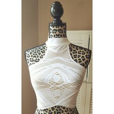 White fishnet mesh overlay crop top Brand new, from style brand Whitney Eve. Size XS/S suitable for bust sizes 30-32, even a small 34 as its stretchy. 92% nylon, 8% spandex. Tan lining with white fishnet/mesh overlay. Halter neck. Whitney Eve Tops Crop Tops