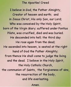 the apostles creed printable | The Apostle Creed More