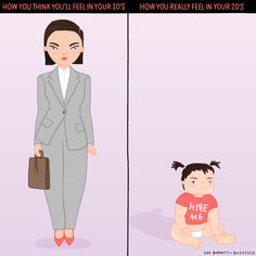 How you think you'll feel in your 20s vs. how you REALLY feel in your 20s