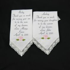 Embroidered wedding handkerchief set of 2 mother by NapaEmbroidery