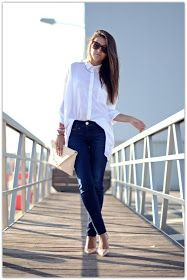Blue Jeans, White Shirt...   ...back to basics with this classic combination for an effortlessly chic look from day to night!           ...