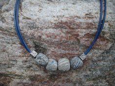 Double Strand Navy Blue Leather Necklace by DesignsbyPattiLynn