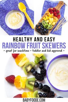 These Rainbow Fruit Skewers with Lemon Honey Yogurt Dip are a kid and toddler favorite! Great for snack time, birthday parties or packed into a school lunch. Full of protein, antioxidants, fiber and probiotics, these skewers are as healthy as they are fun to eat! Toddler Recipes, Toddler Meals, Kids Meals, Rainbow Fruit Skewers, Lunch Recipes, Healthy Recipes, School Lunch, Picky Eaters, Kid Friendly Meals