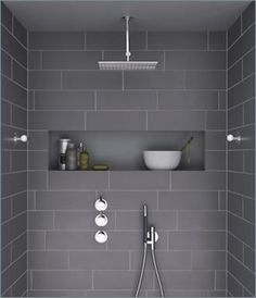 wider tiles - subway bathroom design, slate grey, gray, overhead shower, shower nook