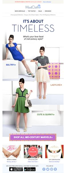 ModCloth It's About Timeless email 2014