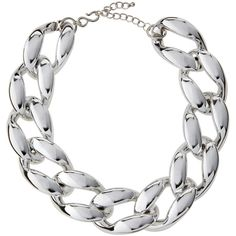Kenneth Jay Lane Silvertone Chunky Curb-Link Statement Necklace ($65) ❤ liked on Polyvore featuring jewelry, necklaces, polished s, chunk jewelry, statement necklace, rhodium plated jewelry, hook necklace and silvertone necklace