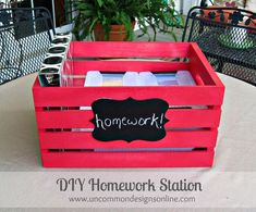 Create a portable DIY Homework Station. This tutorial will show you how to gather all your homework essentials and make a fun crate to haul it all in!