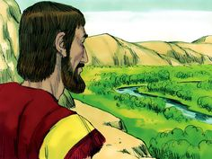 Free Bible illustrations at Free Bible images of Abram (later called Abraham) and Lot sorting out a dispute over grazing land by choosing new places in Canaan to live. Lot is given first choice. (Genesis 13): Slide 11