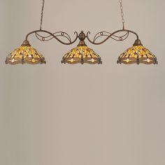Toltec Lighting 843-BRZ-946 3 Light Jazz Billiard Bar Pool Table Light