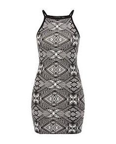 Black Pattern (Black) Black Aztec Print High Neck Bodycon Mini Dress  | 324590409 | New Look
