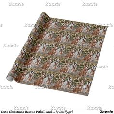 Cute Christmas Rescue Pitbull and America Bull Dog Wrapping Paper #zazzle #shelleyneffphotography #dogs #pets #bulldog #pitbull #giftwrap #wrapping #paper #presents #christmas #joyeuxnoel #animals #puppies #noel #seasonsgreetings #sold #sale
