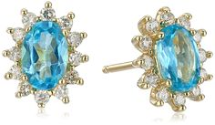 10k Yellow Gold Oval Shaped Star Burst Lady Di Apatite with Diamond Accent Stud Earrings (1/5cttw, I-J Color, I2-I3 Clarity) * Continue to the product at the image link. (This is an affiliate link and I receive a commission for the sales)