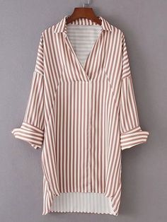 Vertical Striped High Low Shirt Dress -SheIn(Sheinside)