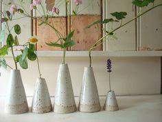 little white ceramic vases