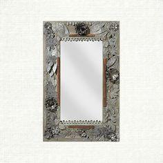 Galvanized Leaf Rectangle Mirror in Antique | Arhaus Furniture