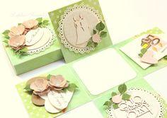 Geldgeschenke - Geldgeschenk Box zur Hochzeit, Exploding box, grün - ein Designerstück von Lapka-Scrapka bei DaWanda