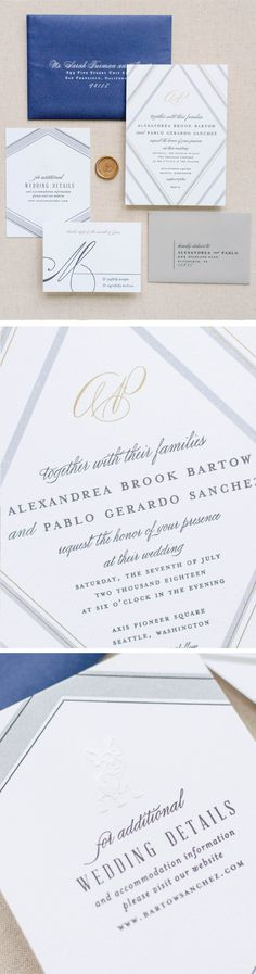 These modern wedding invitations are everything you need to share the   joy of your big  day and get guests excited for your wedding day.   #weddingideas   #weddinginvitations #weddinginvites #romanticweddings   #springwedding Art Deco Wedding Invitations, Wedding Stationery, Dusty Blue Weddings, Industrial Wedding, Wedding Guest Book, Wedding Vendors, Wedding Details, Palette, White Ink