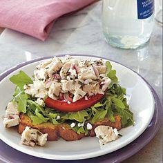 Chicken-Arugula Salad Open-Faced Sandwiches | MyRecipes.com #myplate #protein #grain #arugula