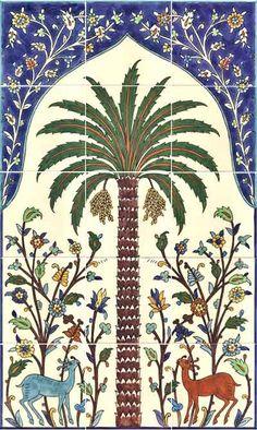 Palm tree tile mural design art