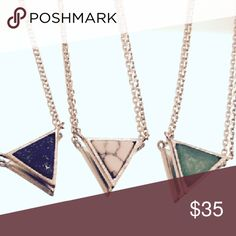"""Delicate Gemstone/Sterling Silver Pendant-3-styles Sterling silver chain and bezel surrounding a triangular jade, howlite, or lapis lazuli gemstone.  Chain measures 16"""".  Shipped in manufacturer's packaging as shown. Alicia Jean Jewelry Necklaces"""