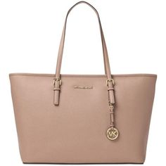 Michael Michael Kors Jet Set Travel Medium Top Zip Multifunction Tote ($224) ❤ liked on Polyvore featuring bags, handbags, tote bags, fawn, michael kors, pocket purse, travel tote, travel purse and pocket tote