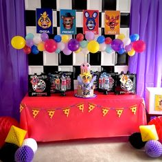 Party table flanked with honeycombs from Five Nights at Freddy's Birthday Party at Kara's Party Ideas. See more at karaspartyideas.com!