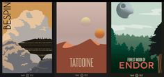 Minimalist Star Wars travel posters from the Galactic Empire