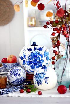 Save this no-carve DIY Halloween project to make a set of blue porcelain craft pumpkins.
