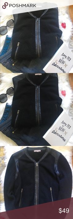Black Banana Republic Moto Jacket EUC super cute black moto jacket from Banana Republic. Jacket is a light sweater material with pleather trim around the collar, shoulders  and zipper. It's the perfect light jacket for when the warm day turns cool. Banana Republic Jackets & Coats