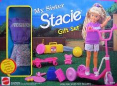 Barbie MY SISTER STACIE Gift Set w Outfit, Scooter & Accessories (1992 Arcotoys, Mattel)