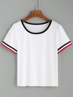 T-shirt col rond manche courte à rayure - blanc-French SheIn(Sheinside)